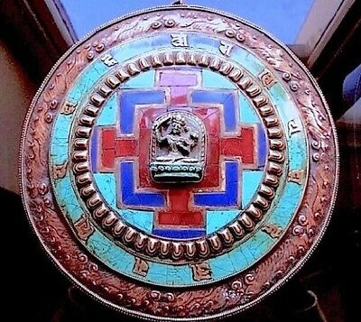 OLD TIBETAN COPPER WALL MANDALA (inlaid in turquoise, coral and lapis)