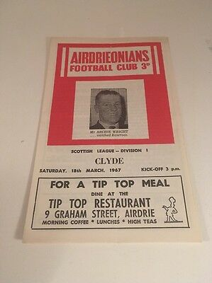 AIRDRIEONIANS v CLYDE Football Programme 18th March 1967 Airdrie