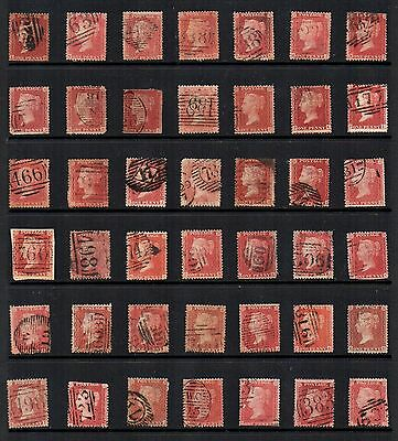 1850s GB VICTORIAN 1d Penny RED STARS  Accumulation 42 Stamps REF:QE136