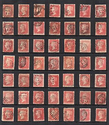 1850s GB VICTORIAN 1d Penny RED STARS  Accumulation 49 Stamps REF:QE145
