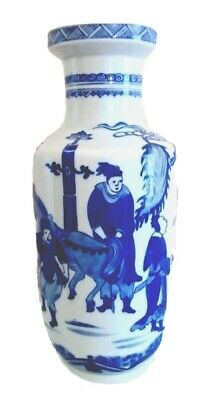 Fine Antique Chinese Blue & White Rouleau Vase, Kangxi Mark, late 19C /early 20C