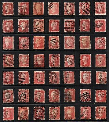 1864-79 GB Victorian 1d PENNY RED PLATES ACCUMULATION 49 Stamps USED Re:QE134