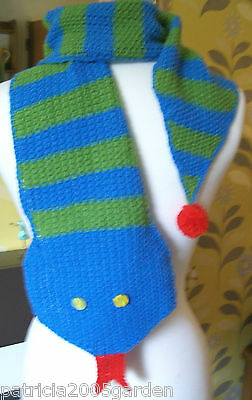 Child's Snake Scarf Hand Knitted Novelty Scarf Boy Girl Blue/green  Xmas Gift