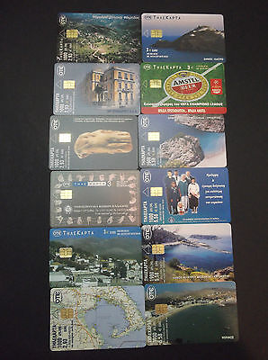 Griechenland Lot 12 Different Phonecards With Error(No Code) Landscapes, Beer