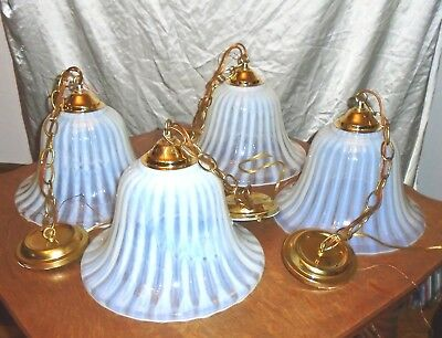 Vintage Feldman Opaline Moonstone Bell Shaped Union Made Light Fixtures Set of 4