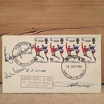 Bobby Moore, Geoff Hurst & Martin Peters Signed 1966 First Day Cover
