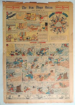 B637. Walt Disney SILLY SYMPHONIES MICKEY MOUSE Newspaper Comic Page (1934) [