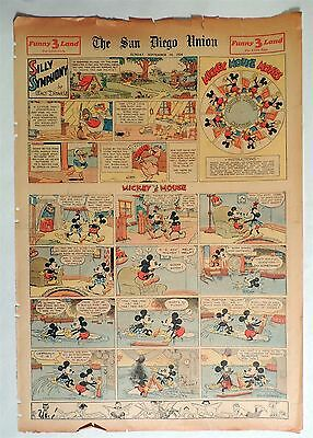 B632. Walt Disney SILLY SYMPHONIES MICKEY MOUSE Newspaper Comic Page (1934) [