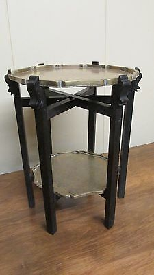Antique Chinese table stand 20's Hardwood -brass trays