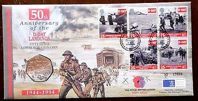 50th Anniversary D-Day Landings, First Day of Issue 50 Pence Coin Cover. 1994