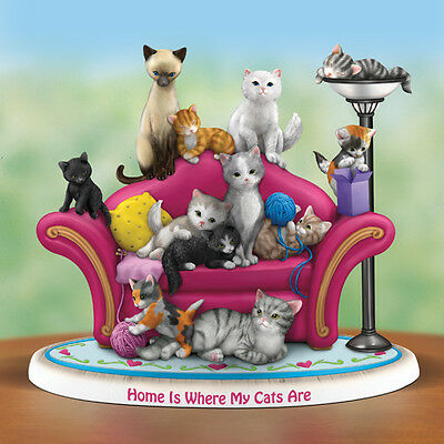 Home Is Where My Cats Are Cat Figurine  - Bradford Exchange