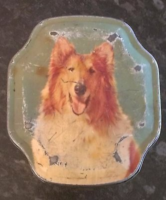 Retro Vintage Sweets Tin With Picture Of Golden Collie