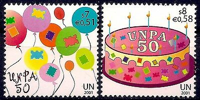 UN (V) 2001 Postal services Hot Air Balloons Cake Greetings Candles Animation NH