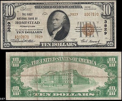 Homestead, PA - $10 1929 Ty. 2 The First NB Ch. # 3829, Very tough note