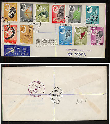 Swaziland    11 stamps    on   cover to  US    1962   EX0327