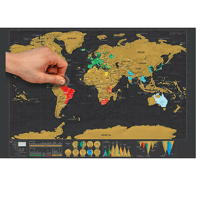 Hot Deluxe Scratch Off World Map Mini Black Poster Personalized Travel Edition