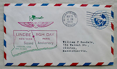 LINDBERGH DAY 2nd Second Anniversary Airmail Cachet Cover May 21 1929 Excel RARE
