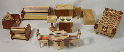 12 Pcs. Vintage Retro Wood Doll House Furniture