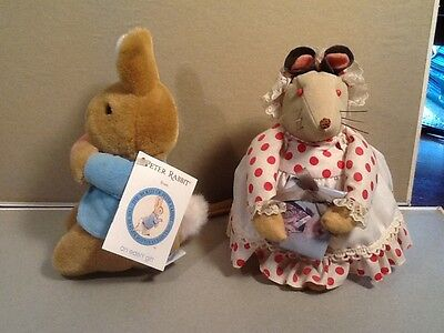 "Stuffed Peter Rabbit by ""Eden"" plus mouse friend."
