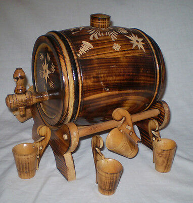 Vintage Hand? Carved Wooden  Wine Or Port Barrel/keg On Stand With 6 Cups