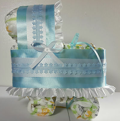 Diaper Cake Bassinet Carriage Baby Shower Gift Boys - Blue and White Flowers