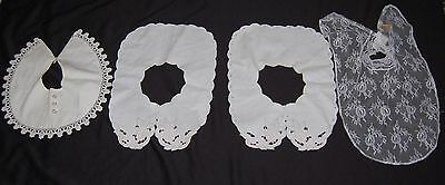 Vintage Womens Collar Lot of 4 Lace Cotton Eyelet Floral Embroidered White Cream