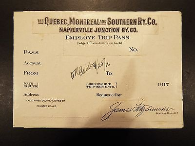 Quebec, Montreal & Southern RY Co. Employee Trip Pass Printers Proof 1917