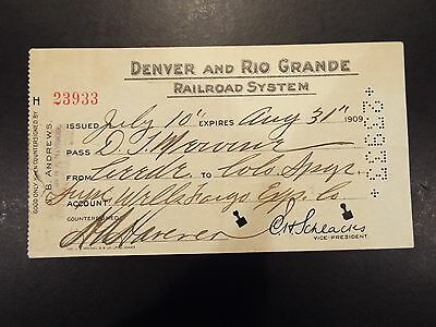 Denver and Rio Grande Railroad System Pass 1909