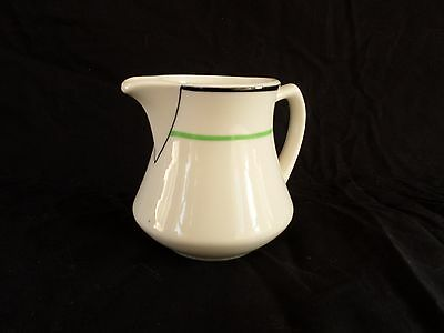 Syracuse China * HOWARD * Creamer Syrup Pitcher * Green Black Stripe ~White Body
