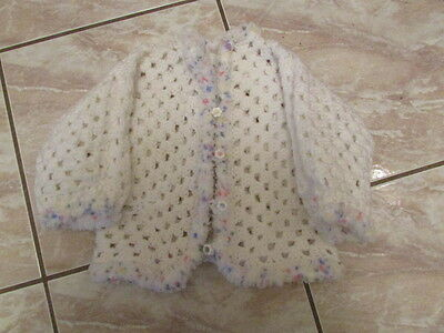 Handmade Crocheted Baby/Toddler Sweater, Color White With Flower Buttons
