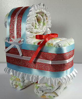 Diaper Cake Bassinet Carriage Baby Shower Gift Neutral - Red White and Blue