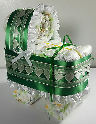 Diaper Cake Bassinet Carriage Baby Shower Gift Neutral - Green and Ivory Hearts
