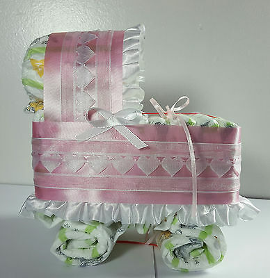 Diaper Cake Bassinet Carriage Baby Shower Gift Girls - Pink and White Hearts