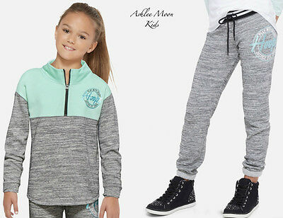 NWT JUSTICE Girls 12 HOOPS Half Zip Pullover & Jogger Sweatpants Outfit