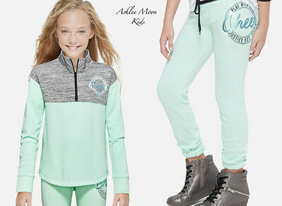 NWT JUSTICE Girls 14 CHEER Half Zip Pullover & Jogger Sweatpants Outfit