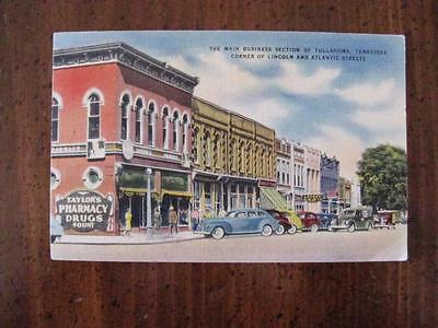 Vintage Linen Postcard Main Business Dist Lincoln St & Atlantic St Tullahoma TN