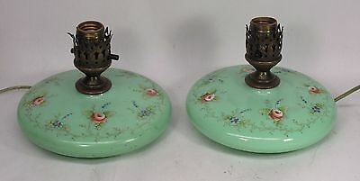 Vintage Pair of Hand Painted Green Milk Glass Boudoir Table Lamps