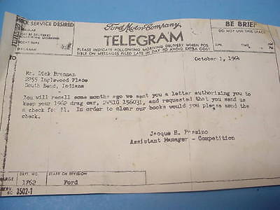 Rare Telegram From The Ford Motor Co. 1962 Factory Ford Galaxy Drag Racing Cars