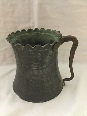 Antique Iranian Brass Hand Forged Metal Stein Wedding Large Cup Iran Persia
