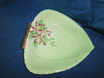 Vintage Carlton Ware Apple Blossum Green Leaf Plate
