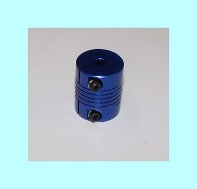 "5mm x 3/8 flex SHAFT COUPLING CNC .25"" Servo Stepper motor coupler blue"