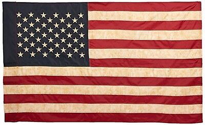 Vintage Look Tea Stained American Flag 60x36inches Rustic Sleeve Stars Primitive