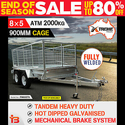 NEW XTREME 8x5 Tandem Box Trailer 900MM CAGE Fully Welded GALVANISED ATM 2000kg