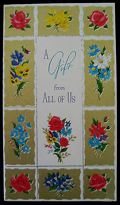 Vintage Gift Enclosure Greeting Card Gilded Silver Flowers Norcross Card.