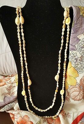 """2 Vintage Cowrie Shell Long Chain Shell Necklaces Approx. 34"""" and 38"""" Long"""
