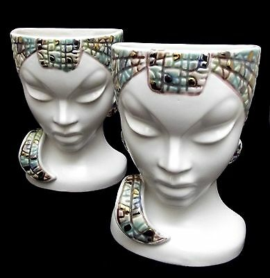"2 Relco Art Deco Head Vases/Wall Pockets Tribal Green Jewel-tone Accents 6 1/2""!"