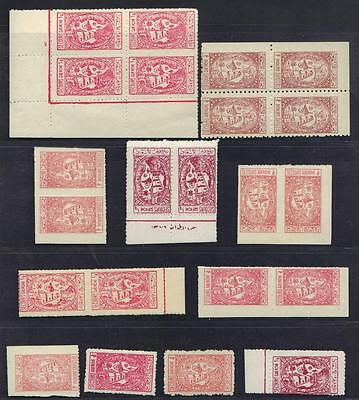 Saudi Arabia 1945 56 Specialized Collection Of 22 Hospital Stamps In Blocks Pair