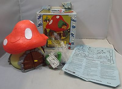 VINTAGE 1970s BOXED SCHLEICH PEYO SMURF LARGE MUSHROOM HOUSE ORANGE ROOF 40001