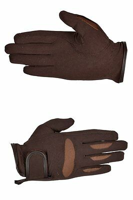 Riders Trend Women's Stretchable Domy Suede Equestrian Gloves - XS, Chocolate