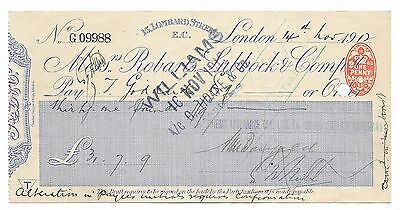 CHEQUE - 1912 BANK:- ROBARTS, LUBBOCK & CO - £31.7.9d ORANGE OVAL 1d DUTY
